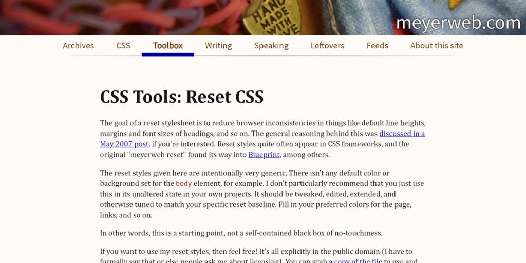 "Eric Meyer's ""Reset CSS"" 2.0"